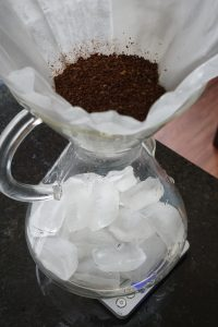 Making pour over iced coffee